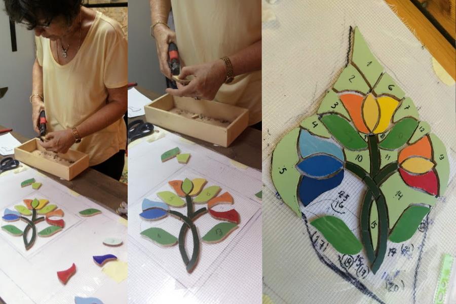 תלמידה מנוסה בפסיפס, הגיע במטרה ללמוד לחתוך צורות מיוחדות, ליצור תנועה וצורה בפסיפס ולהתקדם ברמת גימור העבודה