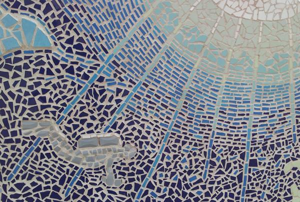 פרט מתוך קיר הפסיפס, בנושא מים.