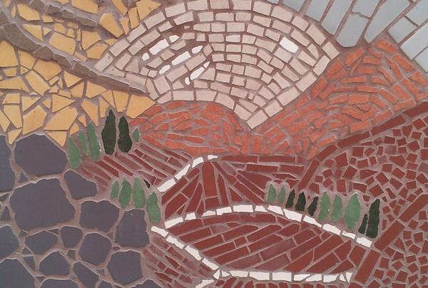 קטע מתוך קיר הפסיפס, בנושא אדמה.