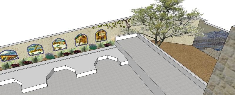 הדמיית הפסיפס לקיר חצר בית הגפן.  מבט מהמרפסת.