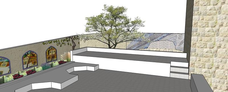 הדמיית הפסיפס לקיר חצר בית הגפן.